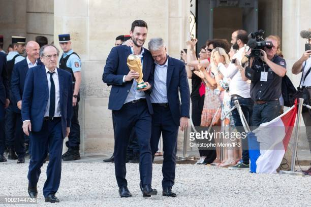 French national football team's players arrive prior to a reception at the Elysee Presidential Palace after they won the Russia 2018 World Cup final...