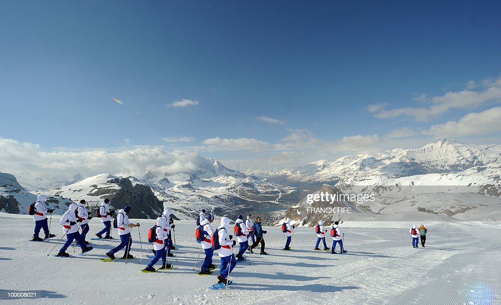 French national football team's players train at the top of the Tignes glacier on May 19, 2010 in the French Alps. The French national team should sleep in altitude tonight and climb up the glacier on May 20, if weather permitting, as part of their altitude training in preparation for the 2010 World cup in South Africa.