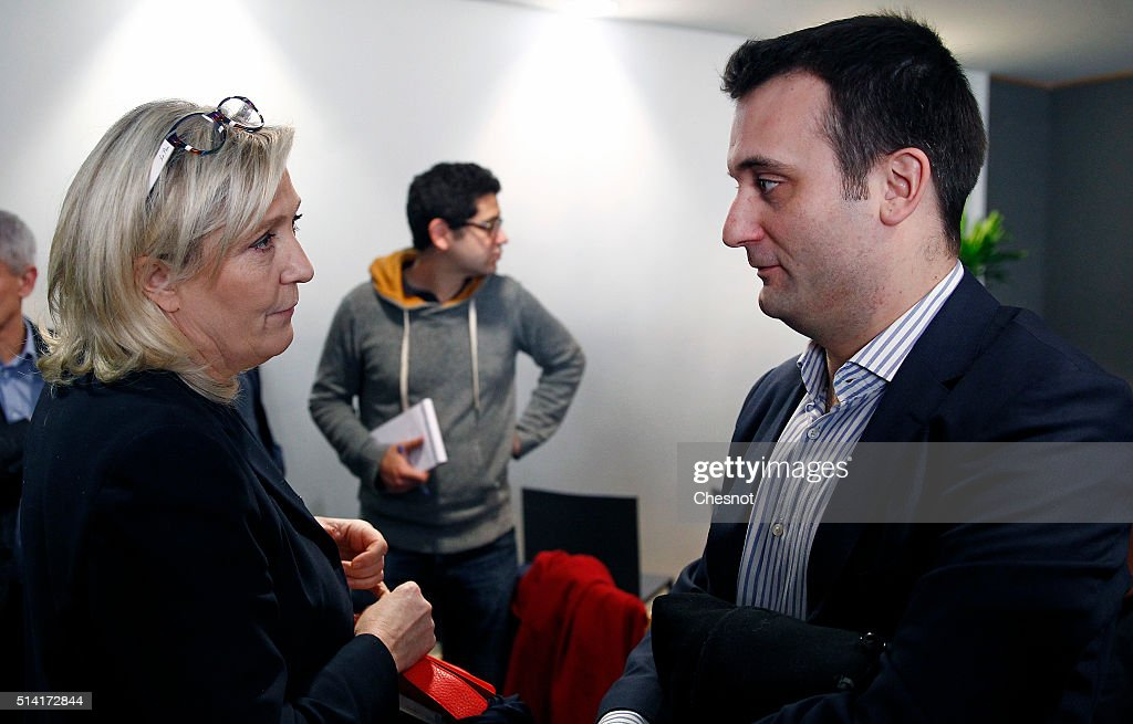 """French Far-right National Front President Marine Le Pen Gives A Press Conference to launch """"Collectif Animaux"""" in Paris"""