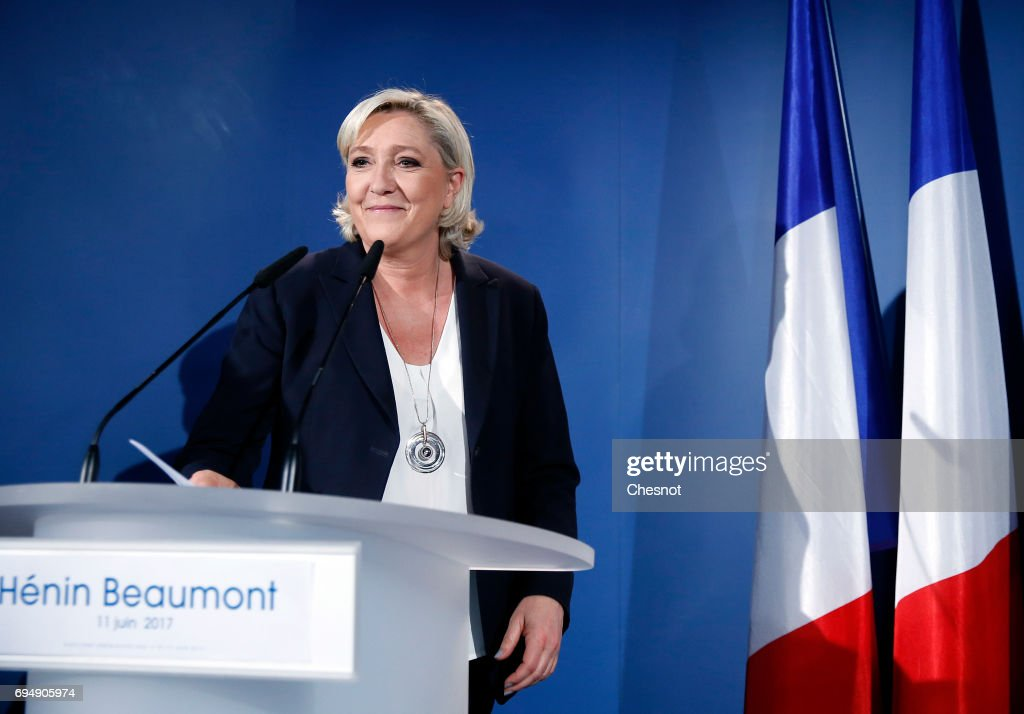 France's far-right National Front Party President, Marine Le Pen Spends Election Day In Henin-Beaumont : News Photo