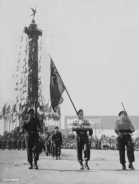 French National Holiday Military Parade Canadians At Place De La Bastille In Paris On July 14Th 1945
