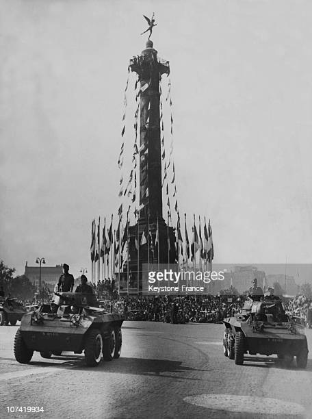 French National Holiday Military Parade Division Armoured At Place De La Bastille In Paris On July 14Th 1945