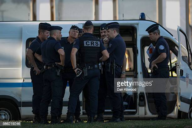 French National Police officers patrol the Promenade on August 5 2016 in Cannes France Security along the French Riviera and across France has been...