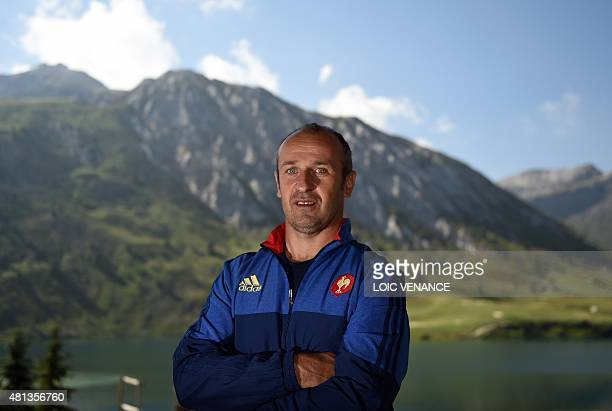 French national rugby team head coach Philippe Saint-Andre poses during a Rugby Union World Cup 2015 training camp on July 20, 2015 in Tignes, French...