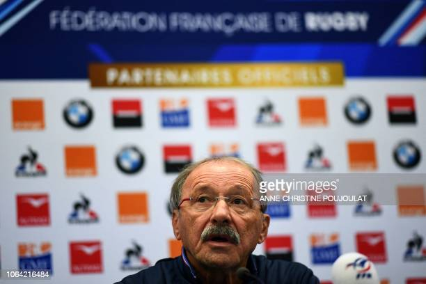French national rugby union team coach Jacques Brunel answers questions during a press conference on November 22 2018 in Marcoussis southern Paris as...