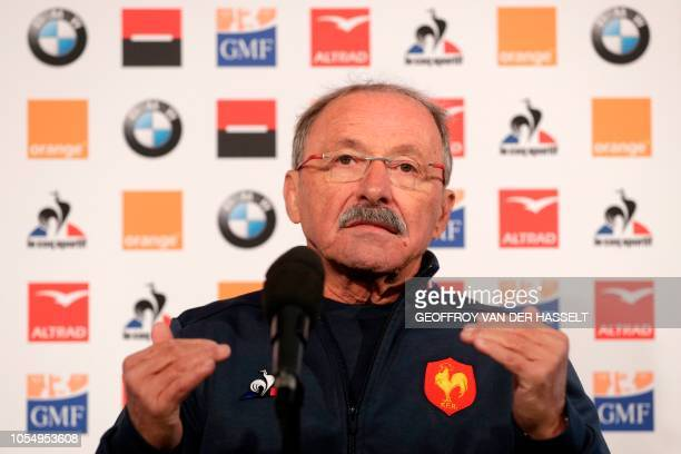French national rugby union team coach Jacques Brunel gives a press conference on October 29 2018 in Marcoussis southern Paris