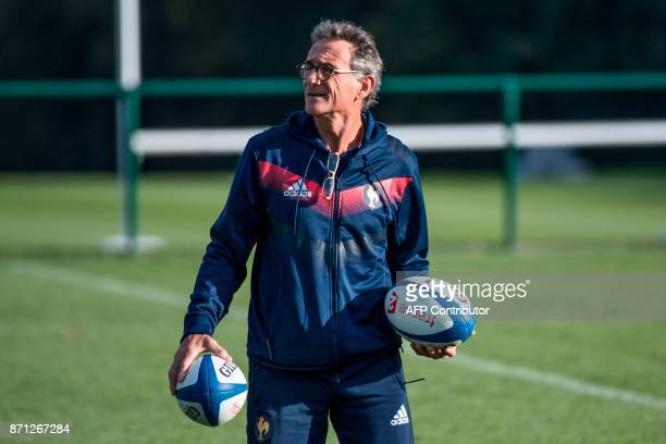 French national rugby union team head coach Guy Noves supervises a training session in Marcoussis near Paris on November 7 2017 ahead of the upcoming...