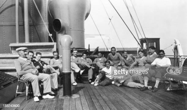 French national soccer team players pose after lunch for a group picture during their cruise aboard the Conte Verde in July 1930 on their way to...