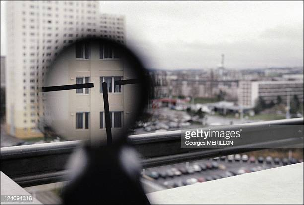 French National SWAT team RAID In France On January 20 1998 French national SWAT team sharpshooter keeps close watch over the facades of Val Fourre...