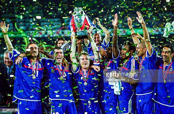 French National team and Didier DESCHAMPS after the final of the Football European Championships between France and Italy in Rotterdam Netherlands on...