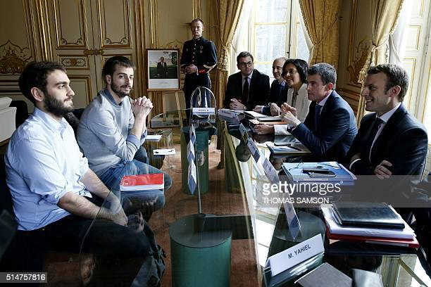 French National Union of Students of France General Secretary Sacha Feierabend and UNEF President William Martinet looks on during a meeting with...