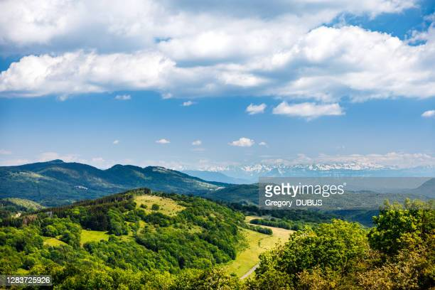 french nature rolling landscape in spring with green hills and alps mountains - ain france stock pictures, royalty-free photos & images
