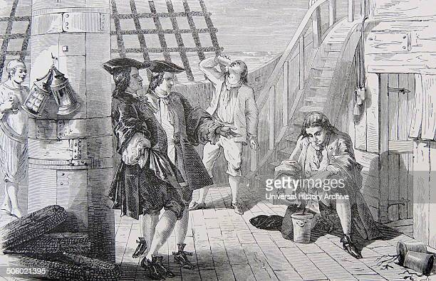 French naval captain Gabriel de Clieu using precious water supply to keep alive a plant of Coffea arabica from the Jardin des plantes Paris on the...