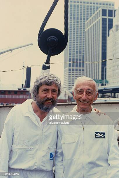 French naval officer explorer ecologist and director JacquesYves Cousteau and his son explorer JeanMichel Cousteau