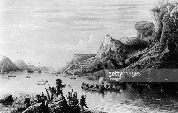 French navigator and explorer, Jacques Cartier, ascending the St Lawrence River, Canada. Original Artwork: Engraving by Gudin.