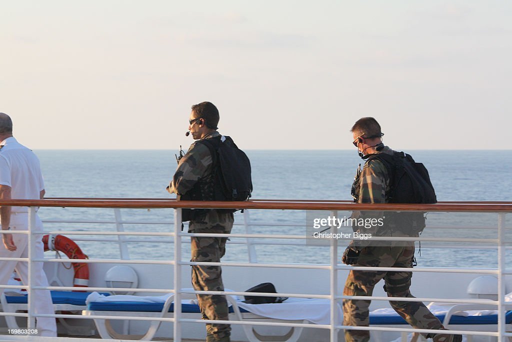 CONTENT] French Navy personnel established a substantial presence on board the the luxury cruise ship Seabourn Spirit whilst in a safety convoy due to Somali based pirates in the Gulf of Aden.
