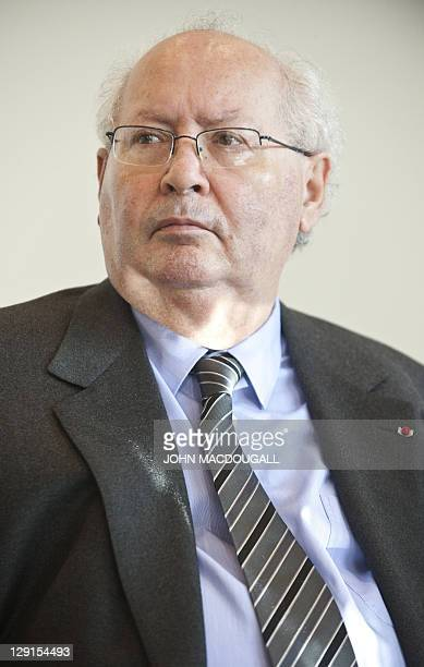 French Nazi hunter Serge Klarsfeld takes part attends the presentation of Project Aladdin at the 63rd Frankfurt Book Fair October 13 2011 Project...