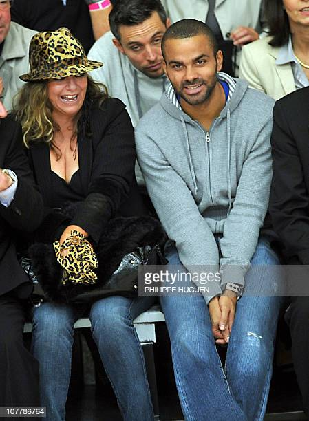 French NBA player Tony Parker and his mother Pamela Firestone attend the French basketball match BC Orchies vs Get Vosges on September 25 2010 in...