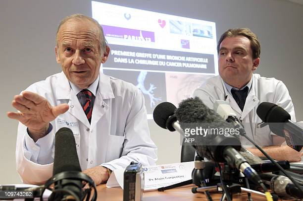 French neurooncologist Alain Carpentier and thoracic and vascular surgeon Emmanuel Martinod give a press conference on March 3 2011 at the Avicienne...