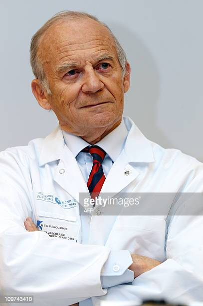 French neurooncologist and academician Alain Carpentier poses prior to a press conference on March 3 2011 at the Avicienne hospital in Bobigny a...