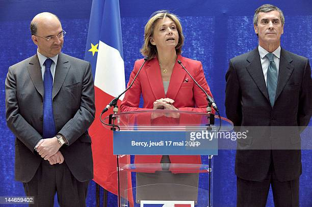 French newly appointed Economy, Finance and Foreign Trade Minister Pierre Moscovici and newly appointed French Junior Minister for Budget, Jerome...