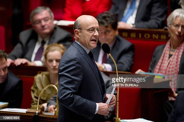 French newly appointed Foreign Affairs Minister Alain Juppe adresses MP's during the weekly session of questions to the government on March 1 2011 at...