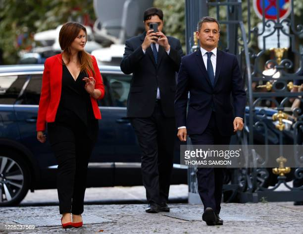 French newly appointed Interior Minister Gerald Darmanin, flanked by newly appointed deputy Minister in charge of Citizenship Marlene Schiappa arrive...