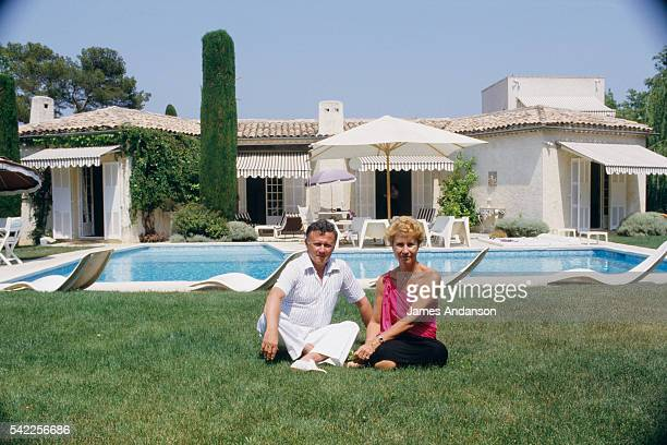 French newspaper radio broadcast journalist and TV host Philippe Bouvard on summer vacation with his wife Colette
