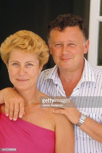 French newspaper radio broadcast journalist and TV host Philippe Bouvard on summer vacation with with his wife Colette