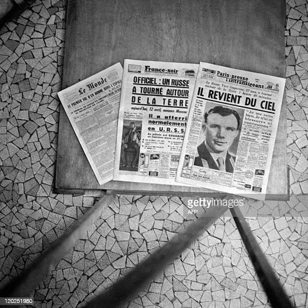 French newspapers announce the flight of Soviet Cosmonaut Yuri Gagarin 12 April 1961 He became the first human to travel in space aboard Vostok I and...