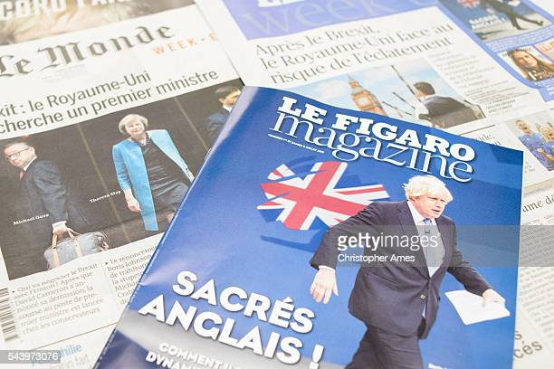 french newspapers react to post-brexit uk political fallout - boris johnson photos stock pictures, royalty-free photos & images