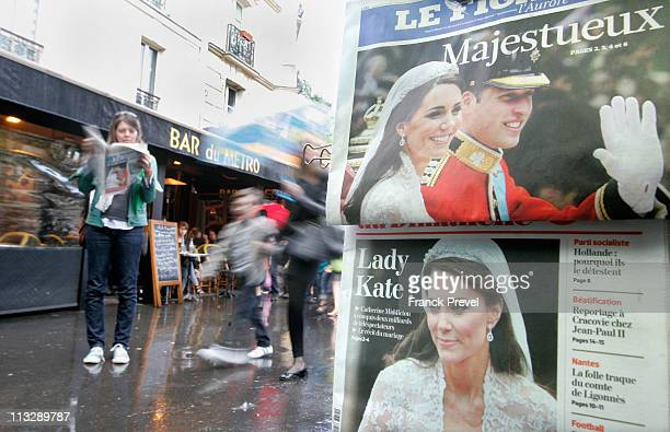 French newspapers report the news of the marriage of their Royal Highnesses Prince William, Duke of Cambridge and Catherine, Duchess of Cambridge...
