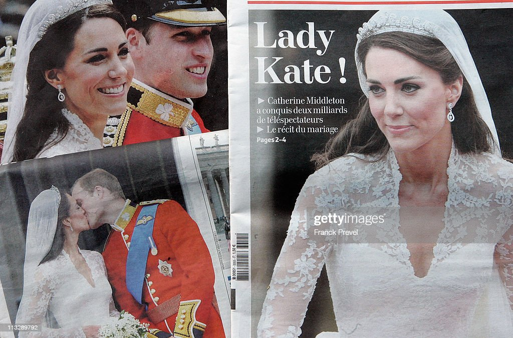 French newspapers report the news of the marriage of their Royal Highnesses Prince William, Duke of Cambridge and Catherine, Duchess of Cambridge following their wedding the day before on April 30, 2011 in Paris, France. The marriage of the second in line to the British throne was led by the Archbishop of Canterbury and was attended by 1900 guests, including foreign Royal family members and heads of state. Thousands of well-wishers from around the world flocked to London to witness the spectacle and pageantry of the Royal Wedding.