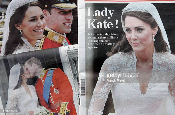 French newspapers report the news of the marriage of their Royal Highnesses Prince William Duke of Cambridge and Catherine Duchess of Cambridge...