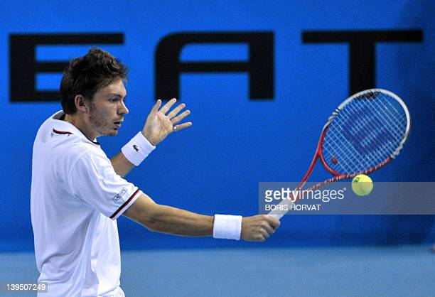 """French Nicolas Mahut returns to his compatriot Jo-Wilfried Tsonga, during the """"Open 13"""" tournament, on February 22 in the southern city of Marseille...."""