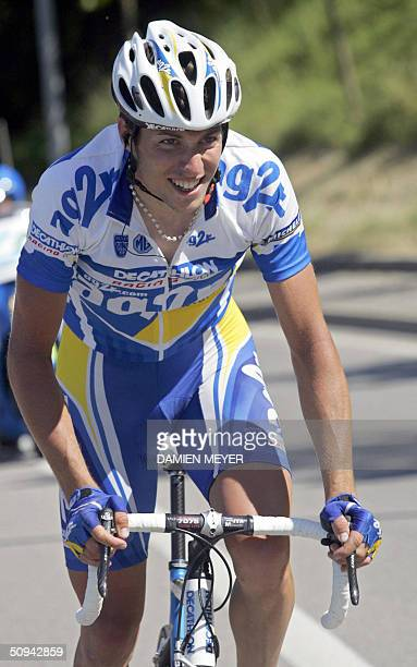French Nicolas Portal is on his way to win the second stage of the 56th Criterium du Dauphine Libere cycling race between Saint-Etienne and Aubenas,...