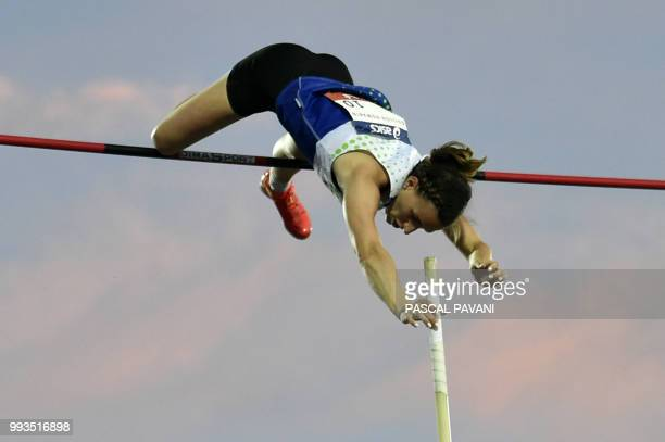French Ninon Guillon-Romarin competes in the women's pole vault during the Alhletics French Championships Elite in Albi, southwestern France, on July...