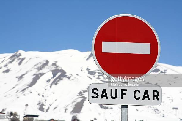 French no entry sign in ski resort