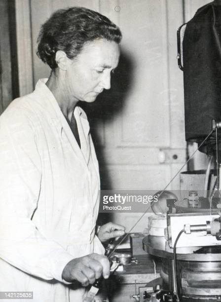 French Nobel Prizewinning chemist Irene JoliotCurie works in her laboratory France 1948 She is the daughter of Nobel Prizewinning physicist Marie...