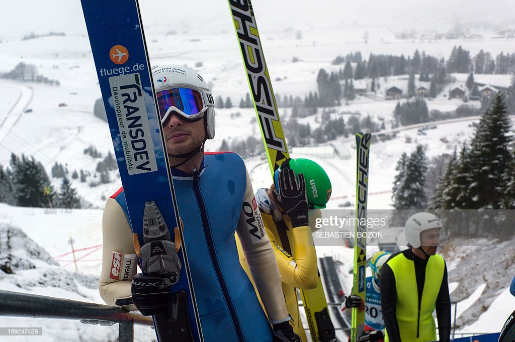 French Nordic Combined champion Jason Lamy-Chappuis (L) takes part in a training session on January 10, 2013 at the international ski jumping facility of Chaux-Neuve, eastern France.