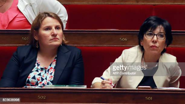 French Nouvelle Gauche parliamentary group members of Parliament Valerie Rabault and Christine Pires Beaune attend a debate on a draft law on the...