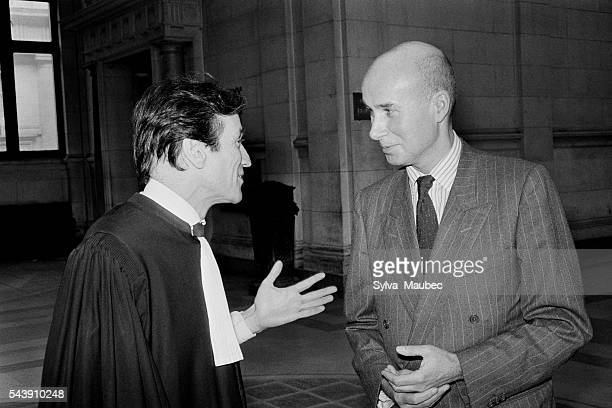 French novelist essayist poet and writer Gabriel Matzneff with his lawyer Thierry Levy