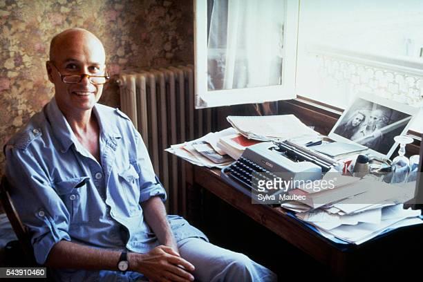 French novelist, essayist, poet, and writer Gabriel Matzneff working at Hotel taranne, in Saint-Germain-des-Prés.