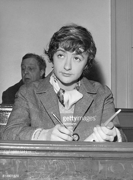 French novelist Francoise Sagan attends the murder trial of JeanClaude Vivier and Jacques Sermeus the assassins of Parc de SaintCloud She is taking...