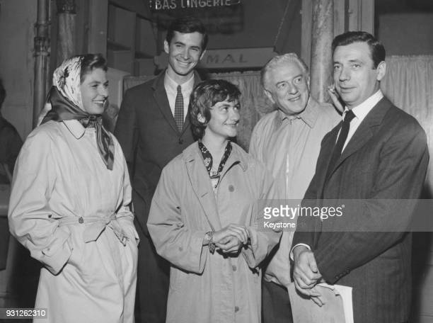 French novelist Françoise Sagan with the cast of 'Goodbye Again' a film version of her novel 'Aimezvous Brahms' France 25th October 1960 From left to...