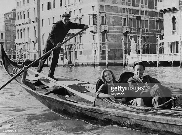 French novelist screenwriter film director and diplomat Romain Gary holidays in Venice with his fiancee American actress Jean Seberg 27th October 1961
