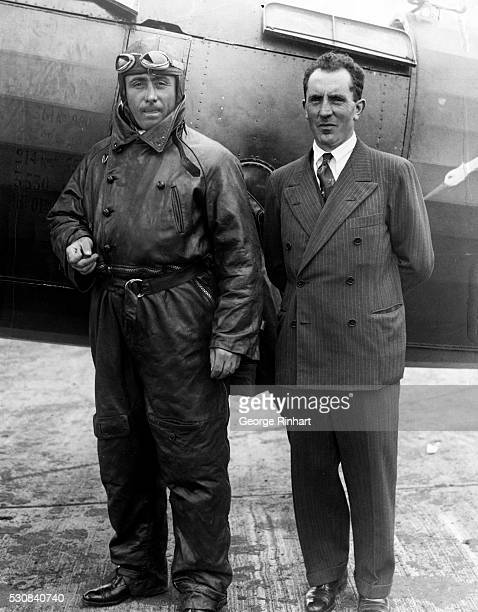 French Ocean Flyers Start Good Will Tour of the US Valley Stream Long Island Photo shows Captain Dieudonne Coste and Lieutenant Maurice Bellonte just...