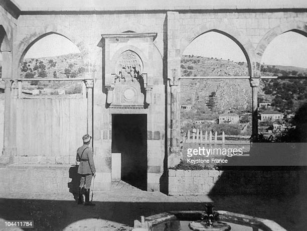 French officer admiring the ruins of a palace in Syria near 1923