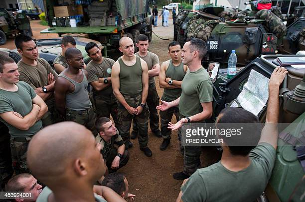 A French officer gives instructions to soldiers at a French military base camp on December 6 2013 in Cameroon The European Union has unblocked 50...