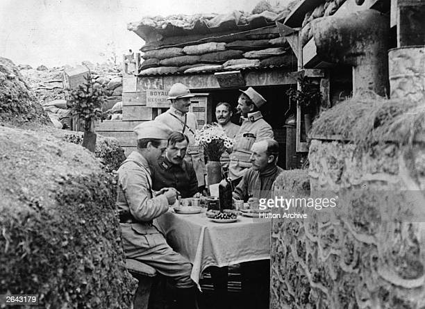 French officers dining in style in a trench near the front line
